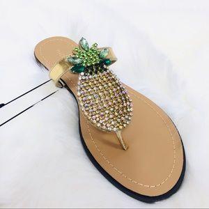 ce90f690a1d7 Madeline Stuart Shoes - 🆕 Pineapple Rhinestone Gold Sandal Flip Flops 9.5